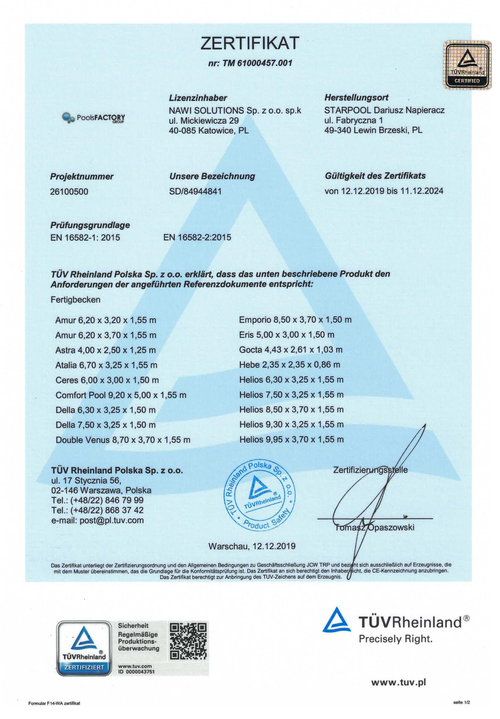 Zertifikat TÜV Rheinland
